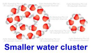 alkaline water has smaller water cluster